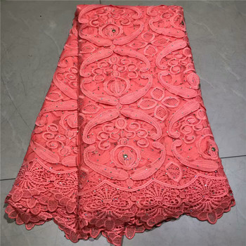 2019 Latest African French Lace Fabric Embroidered Nigerian Tulle Lace Fabric With Stones For Party Dress 5 yard/lot 2L3065-2868