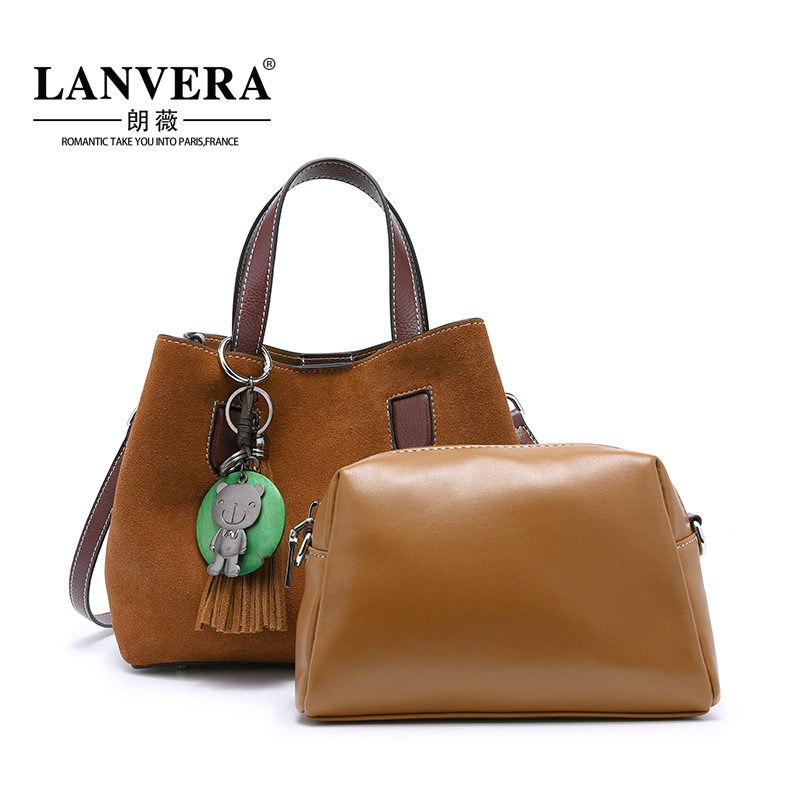 Genuine Leather Women Handbag 2Pcs Set Shoulder Bag Girls Small Bags Vintage Tassel Casual Tote Women Bag Famous Brand Bolsa цена и фото