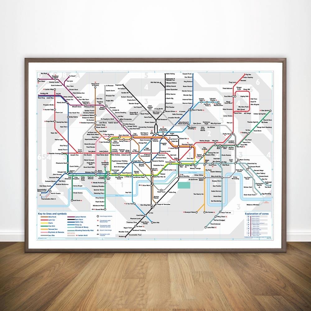 Hot Sale London Underground Train Map Movie Wall Art Paint Wall ...