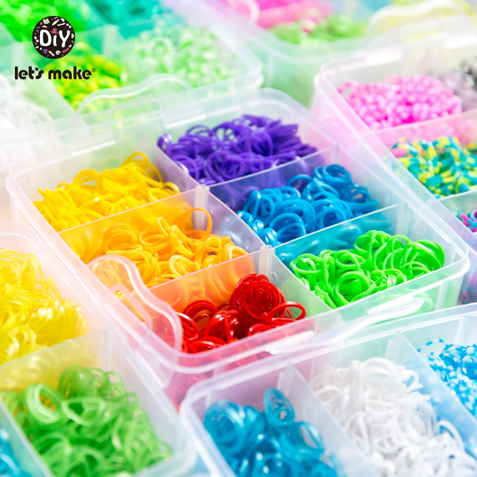 Let'S Make 1800Pc Diy Toys Rubber Loom Bands Set Knitting Bracelet  Elastic Rainbow Weave Loom Adult Children Parent-Child Toy