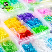 Let'S Make 1800Pc Diy Toys Rubber Loom Bands Set Knitting Bracelet Elastic Rainbow Weave Loom Adult Children Parent-Child Toy(China)
