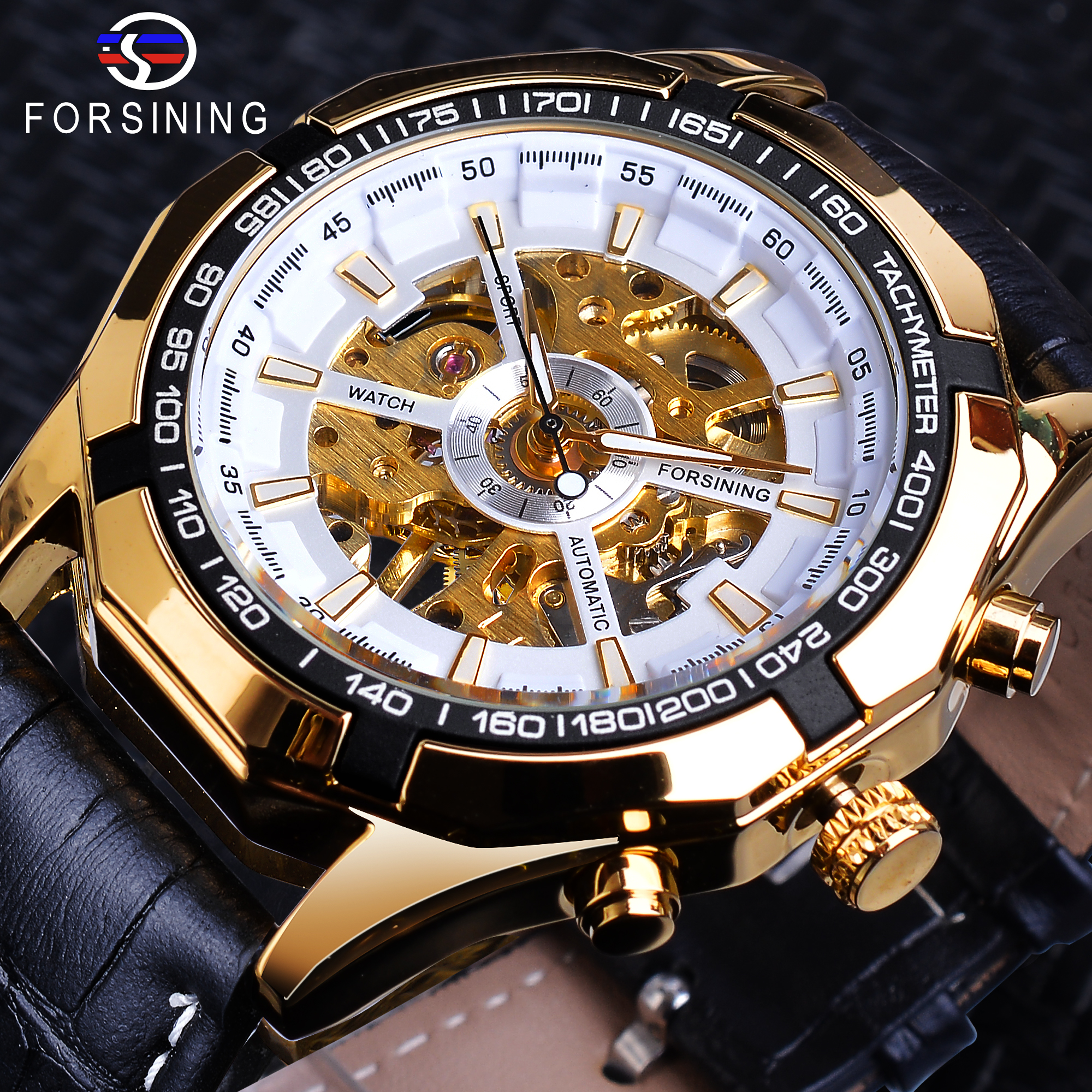 Forsining Luxury Automatic Mens Mechanical Watch Skeleton Black Golden Retro Luminous Hands Leather Band Top Brand Male WatchesForsining Luxury Automatic Mens Mechanical Watch Skeleton Black Golden Retro Luminous Hands Leather Band Top Brand Male Watches