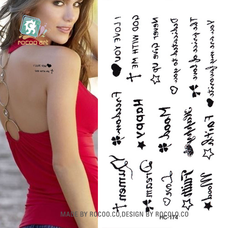 Rocooart HC151-175 Waterproof Fake Tattoo Styling Tools Stickers Snake Pistol Black Feather Temporary Tattoos Body Art Tattoo 30