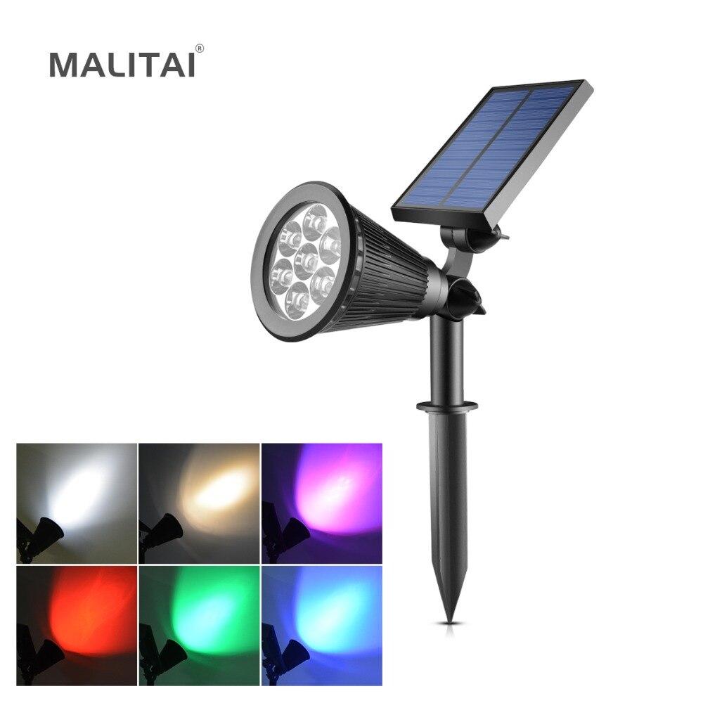 Landscape Lighting Spotlight: 7 LED RGB Solar Power Lawn Lamp Outdoor Garden Flood Light