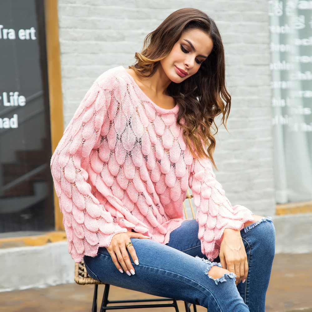 2018 корейский осень-зима Для женщин свитер с длинными рукавами и круглым вырезом трикотажный пуловер Solid белый розовый свободные однотонные ...