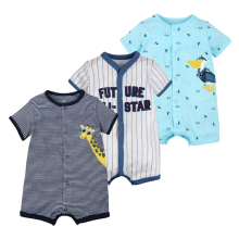 Brand Baby Rompers Summer Unisex Short-Sleeve Roupas Menino Boys Cartoon Animal Pyjamas Cotton Jumpsuit Baby Girls Clothes