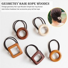 1PC Korea Fashion Rubber Elastic Hair Bands Geometry Round Oval Vintage Wooden Rope Women concise style Accessories