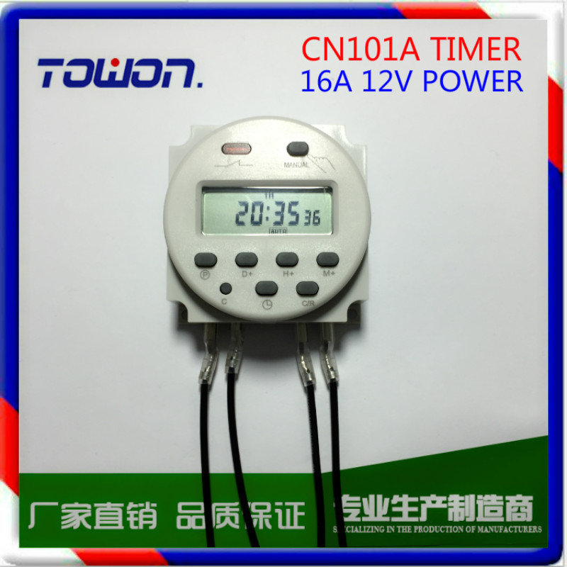 CN101A Digital LCD Programmable Timer DC 12V 16A Time Relay Switch with 4 connect cable aliexpress com buy cn101a digital lcd programmable timer dc 12v cn101a timer wiring diagram at gsmportal.co
