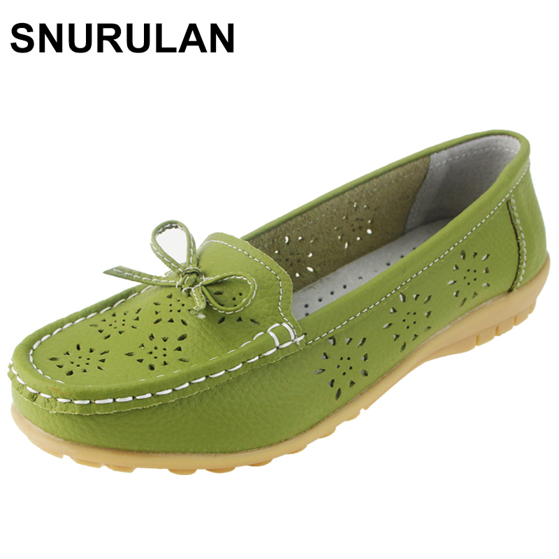 SNURULAN 2017 Cutouts Genuine Leather Shoes Flat Cut outs Women Shoes Ballet Flats Women Four Seasons Nurse Bowtie Loafers Flat 2018 new women shoes ballet flats fashion cut outs flat women shoes sweet hollow out summer female breathable casual shoes
