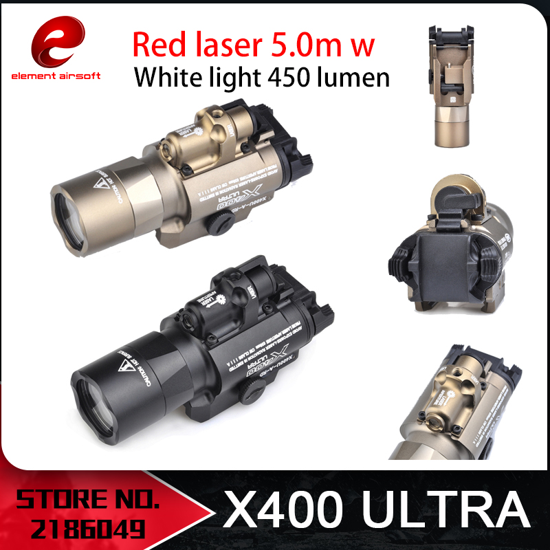 Unsur Airsoft Surefir X400 Ultra Lampu Suluh Red Laser 20mm Picatinny Weaver Rail Mount 450 lumen X400U Gun Light EX367