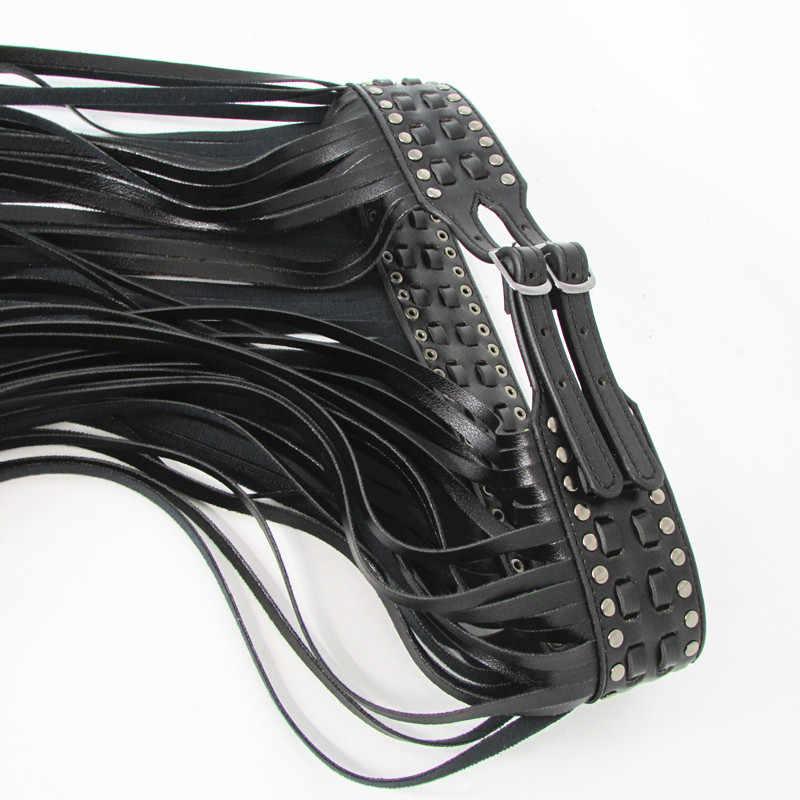 Фантастический длинный пояс с бахромой, черные кожаные дизайнерские ремни для женщин, длинные кисточки, пряжка, корсет, пояс, точка на тренде! BG-006