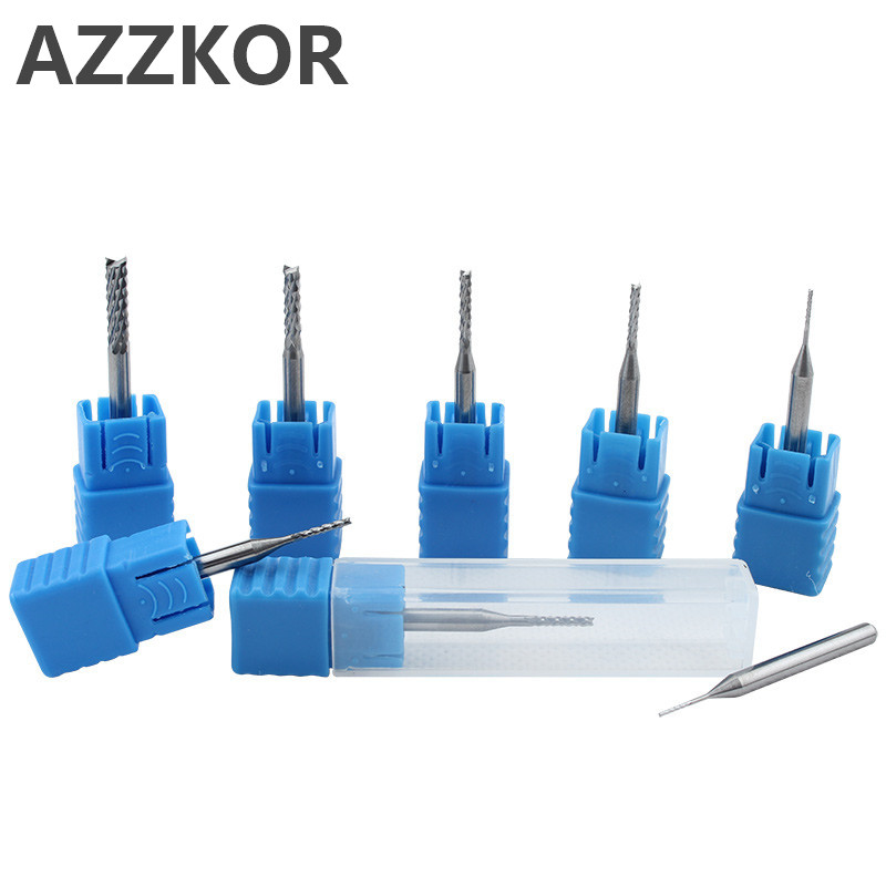 Tungsten Steel Milling Shank 3.175Carbide Carving Cutter Pcb Gong Circuit Board Rough Skin Corn Fishtail Drill CNC Tools AZZKOR