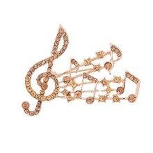 Elegante CZ broches de cristal Vintage Color Musical Note broches con diamantes de imitación para mujer boda Collar solapa alfileres joyería