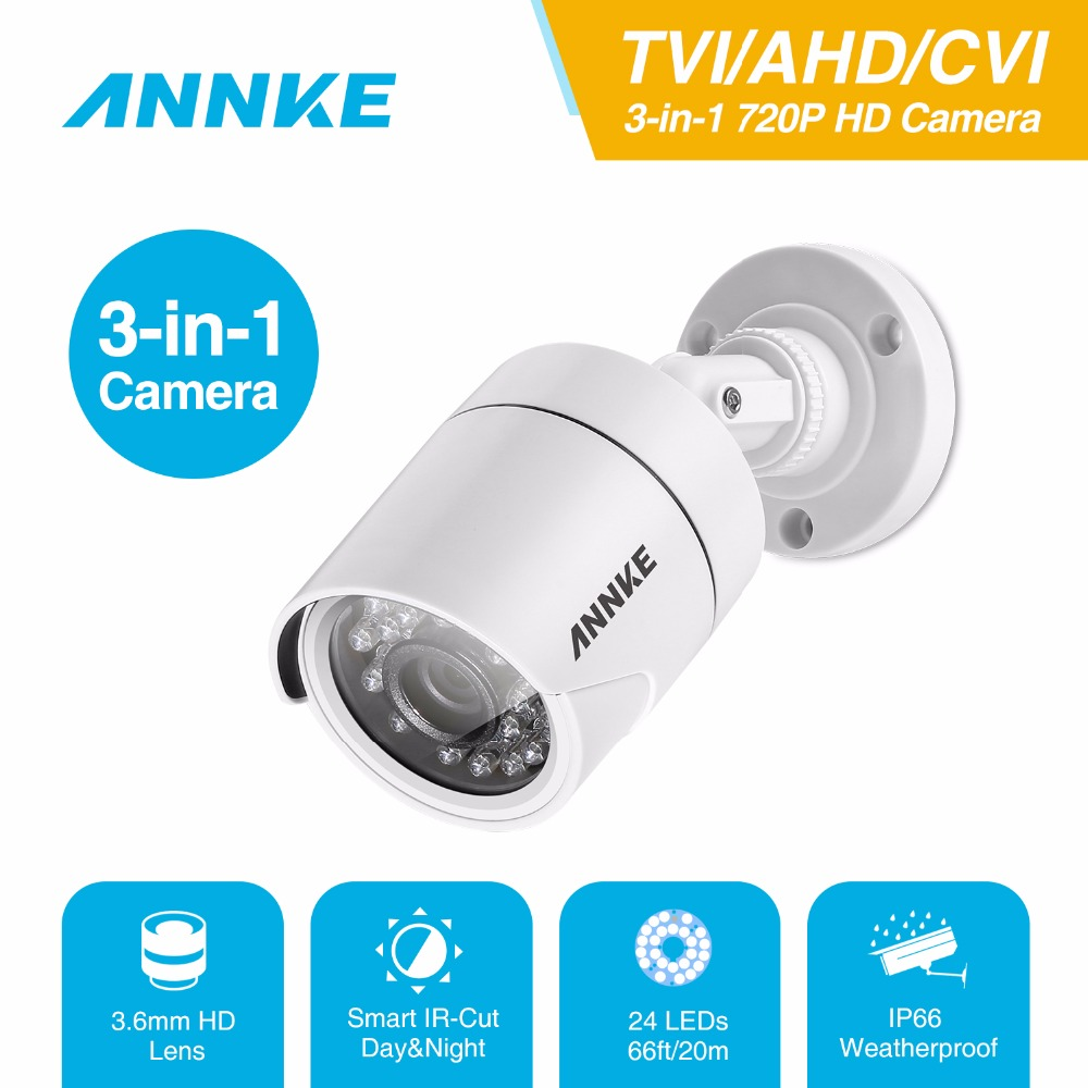 ANNKE 720P HD TVI/AHD/CVI Bullet Security Camera IP66 weatherproof Indoor outdoor CCTV Camera with clear night vision hd ahd cvi tvi cvbs bullet camera with alarm speaker waterproof ip67 hd 1080p 4 in 1 security camera outdoor night vision ir 20m