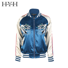 купить HYH HAOYIHUI Blue Floral Print Women Jacket Crew Neck Long Sleeve Pockets Zipper Outwears Embroidery Streetwear Bomber Jacket дешево
