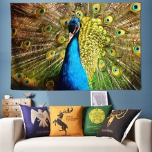Big Peacock Tapestry Anime Wall Hanging Large Size Cloth Vintage Boho Decorative Tapestries Fabric Art Painting 300cm