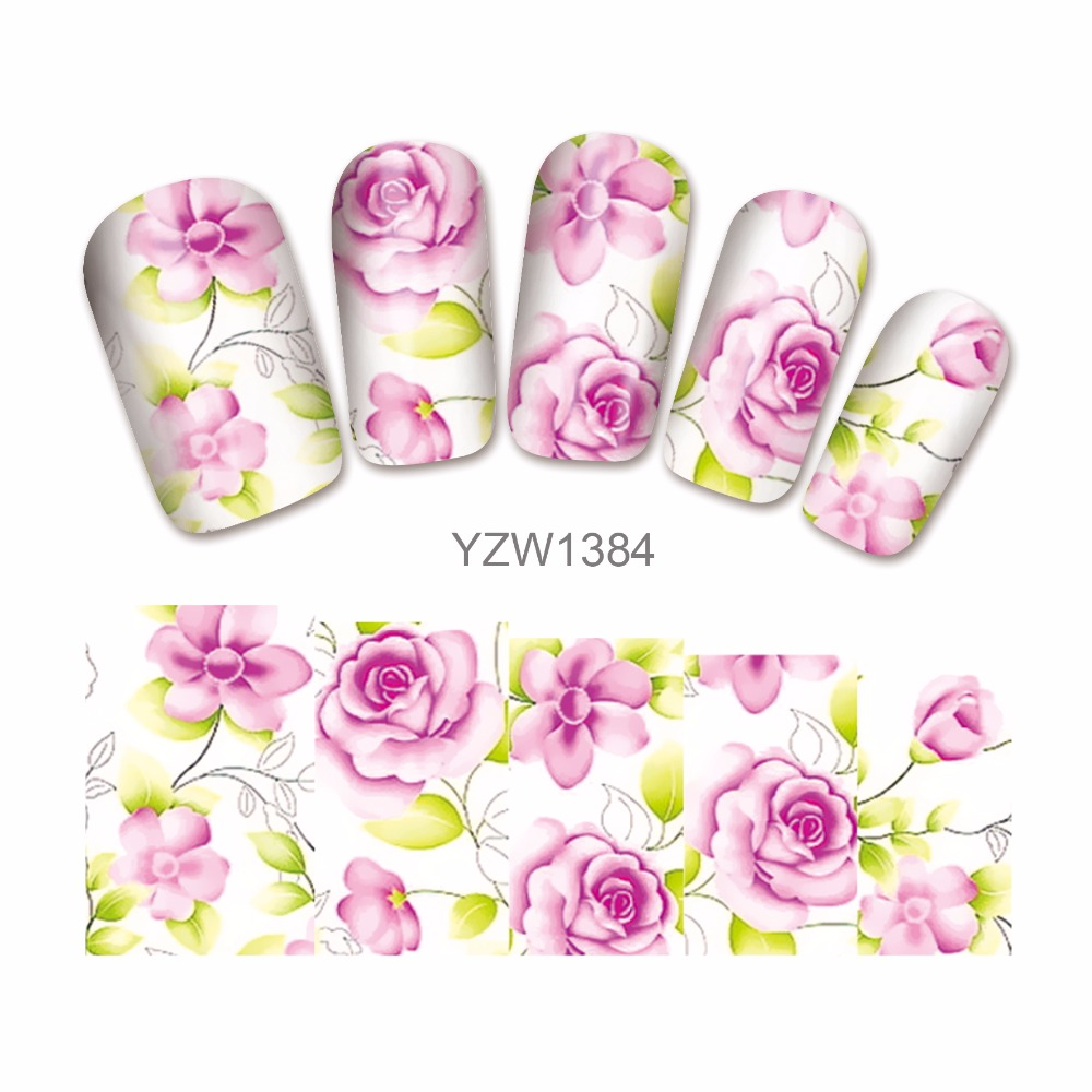 LCJ 'Nail Art Water Transfer Totem Flower Design Nail Sticker Watermark Decals DIY Beauty Nail Tips Decoration Wraps Tools 1384 233 style new 8 pcs lot flower nail decals leopard nail art transfer foil sticker tips decoration christmas snow nails