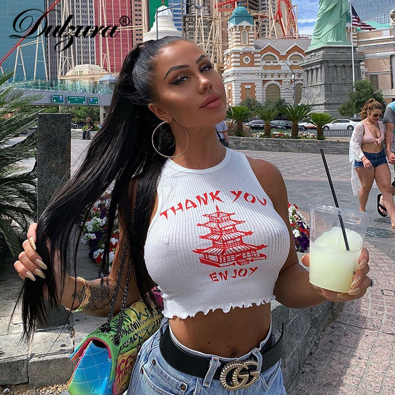 Dulzura 2019 summer women crop   top     tank     top     tops   letter print sexy streetwear ruffles cute party white festival clothes
