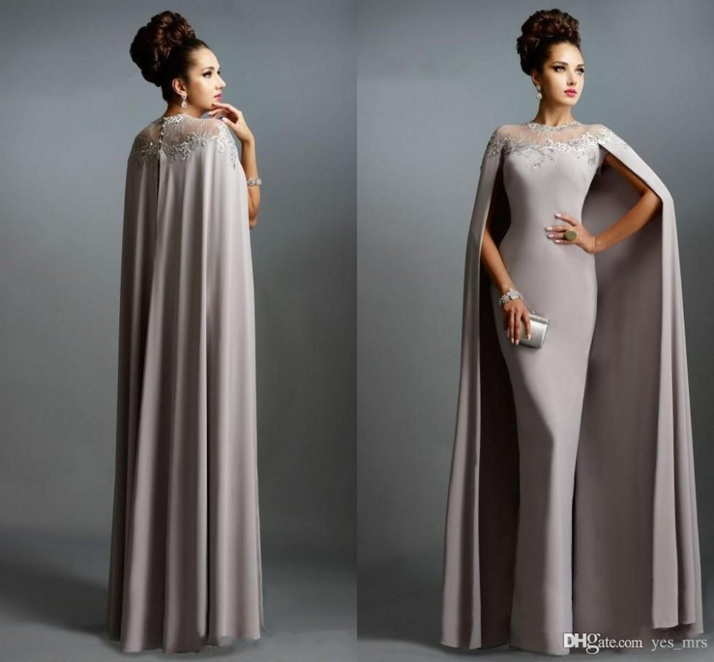 Formal Party Vestido Novia Evening Prom Gowns For Wedding Bride Guest 2018 Cheap Long With Cape Lace Mother Of The Bride Dresses