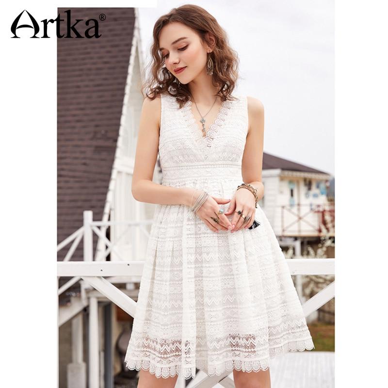 ARTKA 2018 lato nowych kobiet stałe biały głębokie, bez rękawów, dekolt w serek, w kształcie litery X wysokiej talii koronki sukienka LA11083X w Suknie od Odzież damska na  Grupa 1