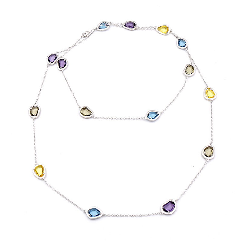 Luxury Brand Jewelry Colorful Crystal Necklace Long Chain 2 Ways to Wear High End Candy Style Wedding Necklaces for Bride