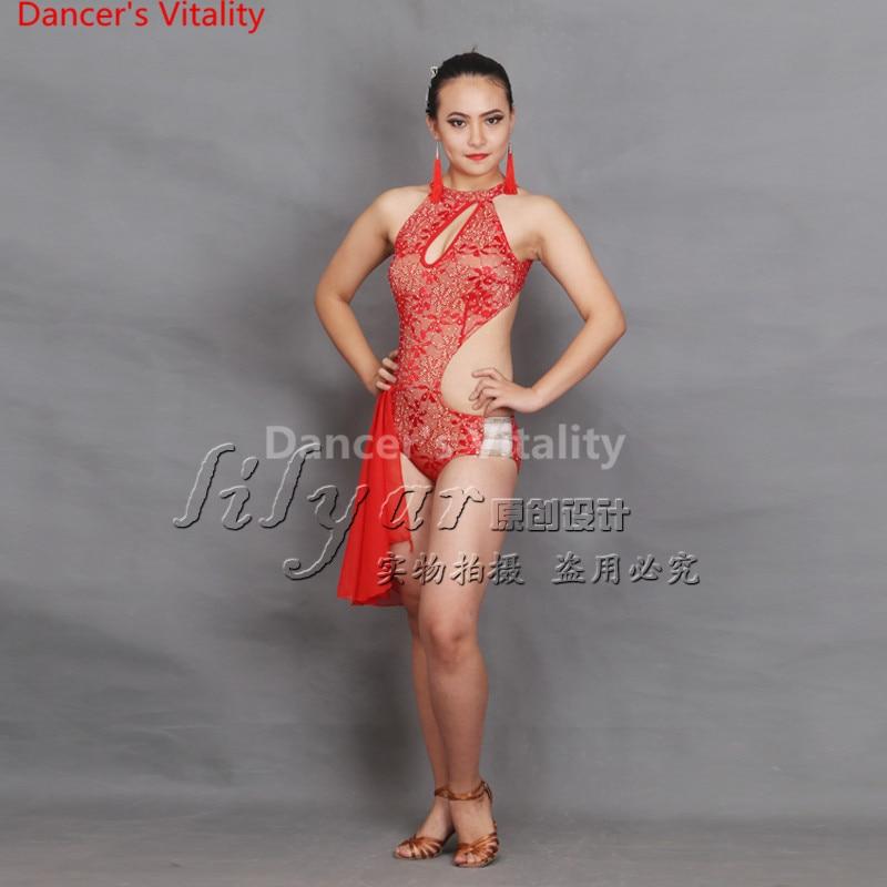 2018 Latin Dance Dresses Red Color Lulu Dance Dress Salsa Dance Leotard Women Ladies Girls Latin Cha-cha Dance Skirts