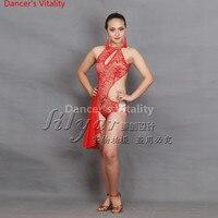 2018 Latin Dance Dresses red color Lulu Dance Dress Salsa Dance Leotard Women Ladies Girls Latin Cha cha Dance Skirts