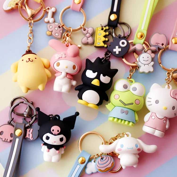2019 Série Sanrio olá kitty My Melody 3D Cinnamorol Pudim mole Cinta Corda Chaveiros PVC Figura Brinquedos para as crianças do bebê