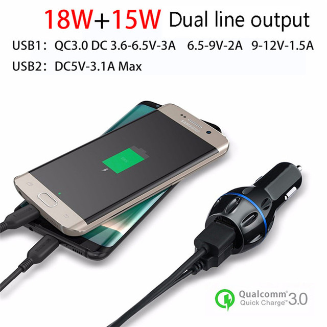 US $5 95 |New Design Dual USB 12V 24V 3 1A Mobile Phone Car Charger Adapter  LED Display Fast Charging 80712-in Cables, Adapters & Sockets from
