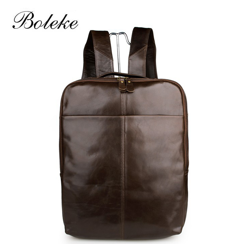 Excellent Men Oil Wax Genuine Leather Backpack Vintage 15 inch Laptop Travel Tote Bag Handmade Large Capacity Rucksack 7280 14 15 15 6 inch flax linen laptop notebook backpack bags case school backpack for travel shopping climbing men women