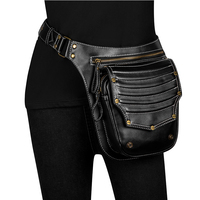 New Fashion Multifunction Leather Belt Bag Women Phone Pouch Fanny Pack Steampunk PU Leather Female Waist Pack Heuptas Pochete