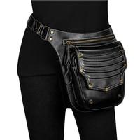 New Fashion Multifunction Leather Belt Bag Women Phone Pouch Fanny Pack Steampunk PU Leather Female Waist Pack Heuptas Pochete