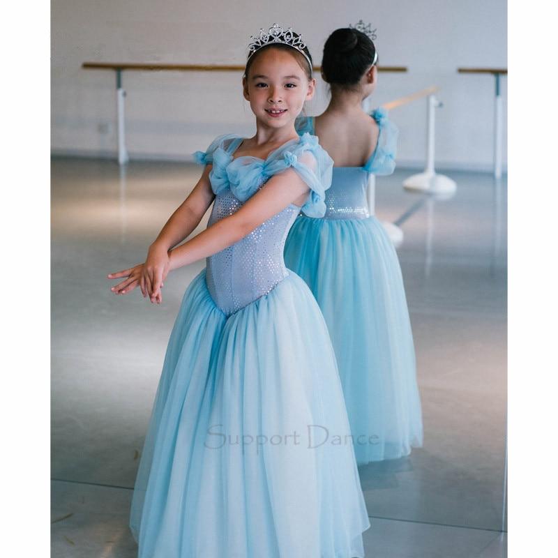 Cinderella Princess Long Ballet Dress Girls Hand Made Sleeve Dance Costume C94