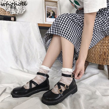 WHOHOLL LoveLive Student Shoes College Girl LOLITA JK Uniform PU Leather Heart-shaped Lac 2 Colors