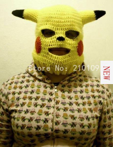 New Handmade Funny Animal Cap Novelty Pikachu Hats Gag Party Masks Beanies Men's Women's Halloween Birthday Cool Boyfriend Gifts