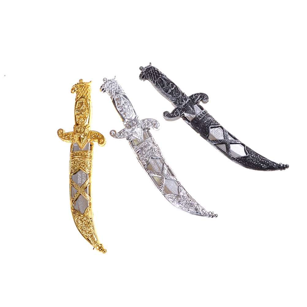 Cool Plastic Swords Halloween Toy Sword Small Weapons Phoenix Knife Toy Pirates Dagger for Kids Gold Black Silver Random send