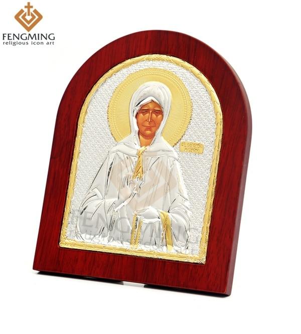 """19 * 15cm Vânzător fierbinte artă din lemn icoane ortodoxe ale """"doamnei sfânta matrona"""" icoană creștină decorare religioasă pandantiv din lemn"""