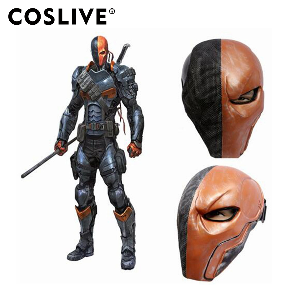 Deathstroke Helmet Batman Arkham Knight Cosplay Costume Halloween Mask Bronze