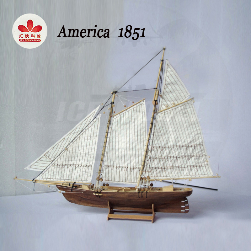Sailing Ship America 1851 Wooden Assembly Model Kits DIY Western Classic Saillingboat Laser Cutting Process Puzzle Toys