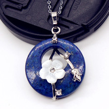 100-Unique 1 Pcs Silver Plated Round Hollow with Flower Lapis Lazuli Pendant Link Chain Necklace Vintage Jewelry