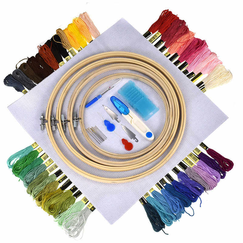 5 Pieces Bamboo Cross Stitch Embroidery Hoops ,50pcs cross stitch embroidery thread sewing accessories sewing tools For Women