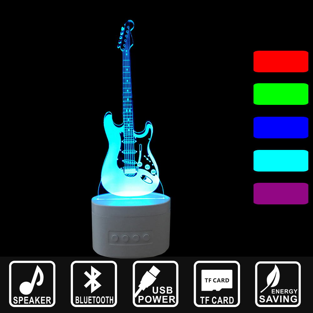 Newest Style rechargeable 3D guitar Bluetooth Speaker Art Deco ari arcylic LED Table Lamp NightLight Bedroom as Gift IY803726-1B