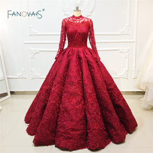 Luxury Dubai Evening Dresses Long Sleeves 2019 Princess Ball Gown Beaded Lace Formal Evening Party Dress Vestido de Fiesta NE47