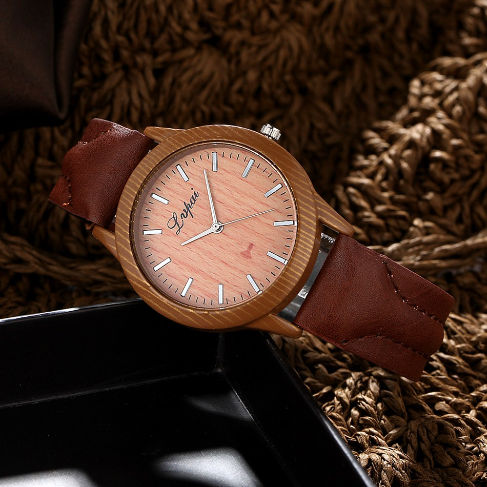 Vintage Wood Grain Watches Fashion Women Men Quartz W