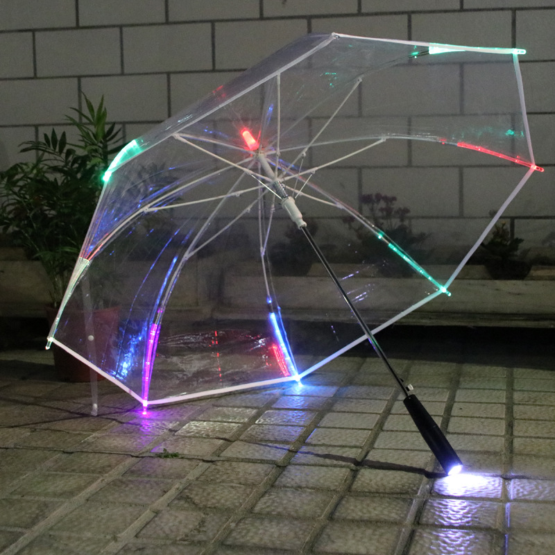 LED Light Pongee Transparent Umbrella Colorful Flashlight Adult Children Umbrella Advertisement Rain Sunny Protecting Tool 翻轉 貓 砂 盆