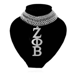 Topvesko Big size Stainless Steel Sliver Tone Zeta Phi Beta Sorority Shinny Metal Necklace