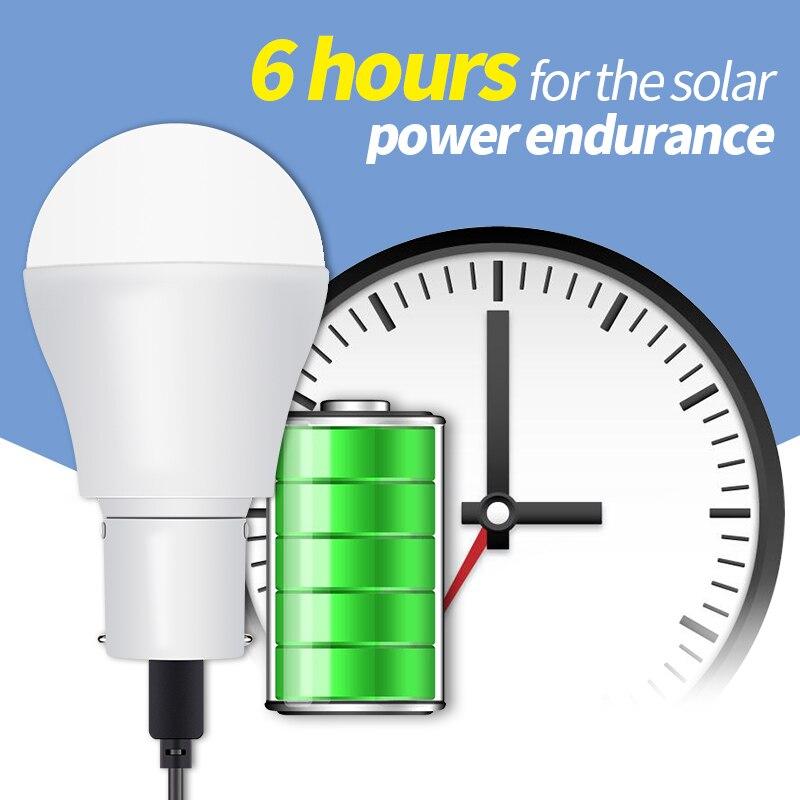 Portable LED Solar Light Garden Light Bulb 15W Solar Power LED Bulb 5V Lampada Solar Energy Lamp For Camping Tent Emergency Bulb in Solar Lamps from Lights Lighting