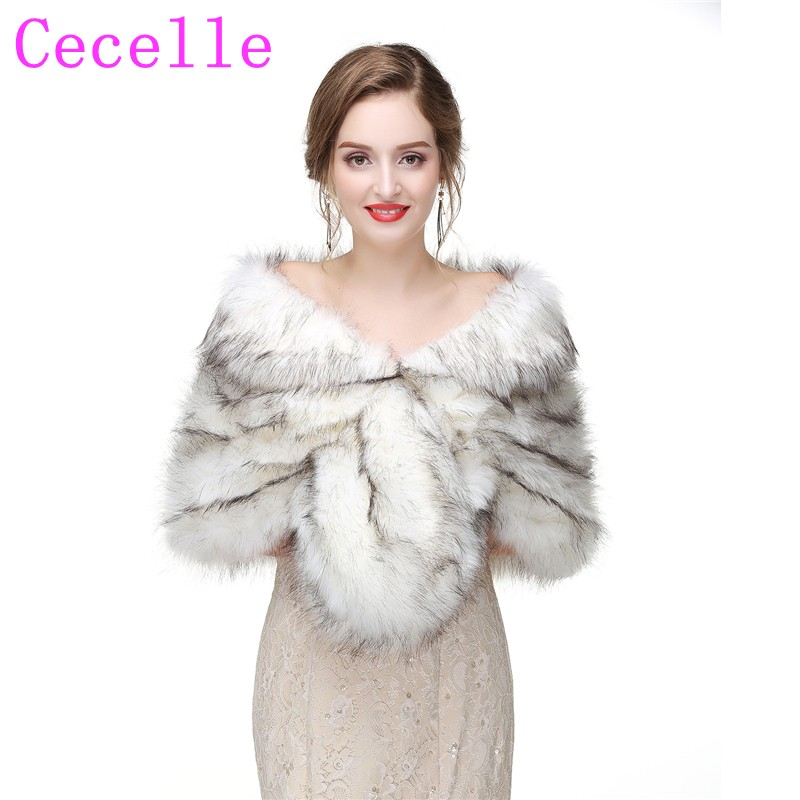 Winter Black And White Faux Fox Fur Bridal Wraps For Wedding 2019 New Fur Cape For Women Bridesmaids Fur Shawl For Wedding