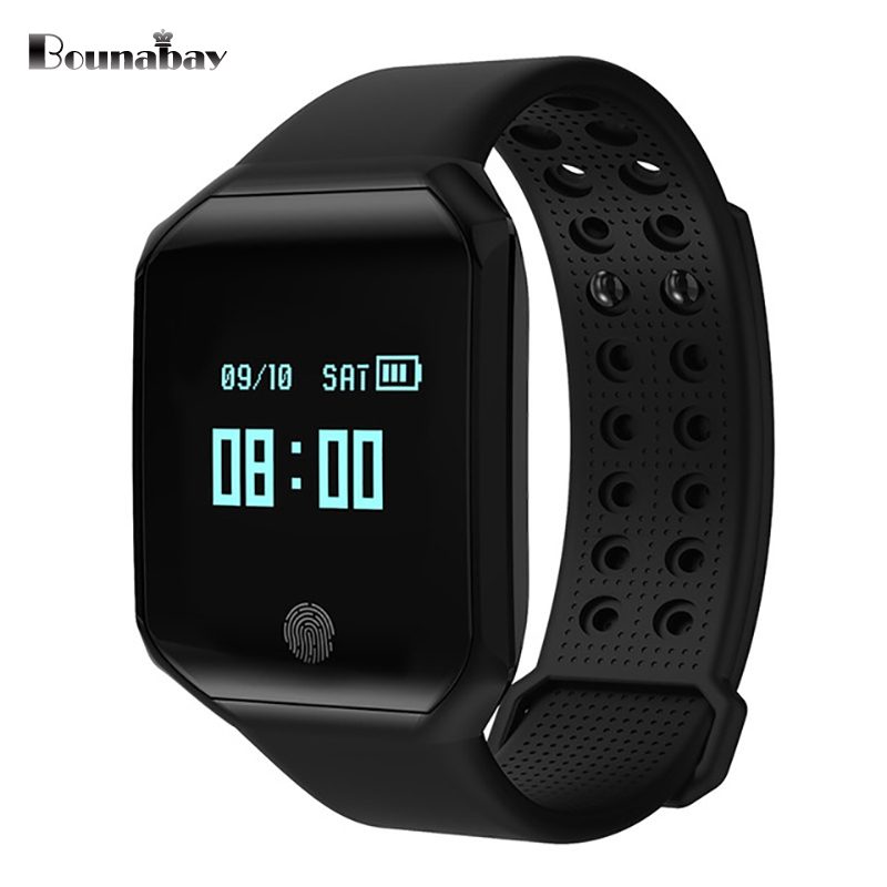 BOUNABAY Heart Rate Monitor Bluetooth 4.0 Smart man watch for apple android ios phone Camera man's Clock Touch Screen Clocks