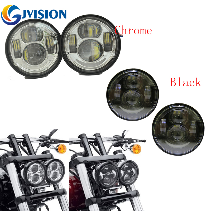 2PCS Motorcycle headlight 4.65'' led Front fog lamp headlamps 5 INCH Fat Bob lights for Harley Fat Bob FXDF faduies 1 pair 4 5 inch harley motorcycle led headlight high low beam with drl angle eyes for harley fat bob fxdf led headlamp